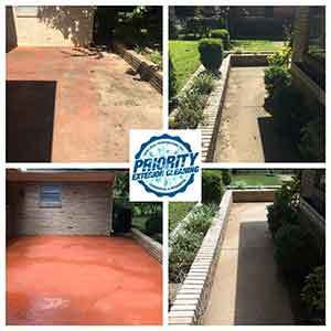 Image: Before & After Residential Patio & Sidewalk Power Washing Services by Priority Exterior Cleaning, LLC.