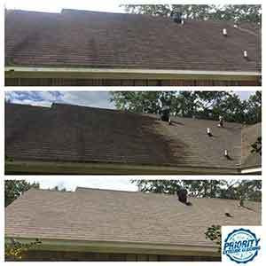 Image: Example of what a roof looks like before, during and after a soft wash roof cleaning treatment