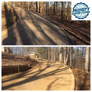 Residential Driveway and Concrete Cleaning. Professional Power Washing Services by Top Rated Jackson MS Pressure Washing Company, Priority Exterior Cleaning.