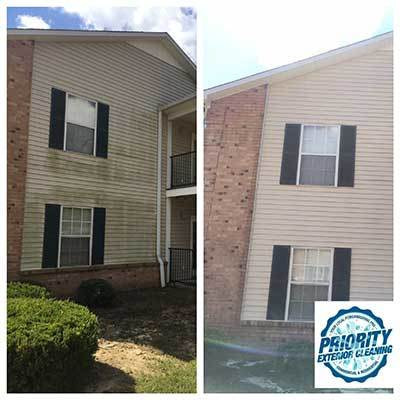 Image: Apartment Power Washing Before and After by Priority Exterior Cleaning, LLC.