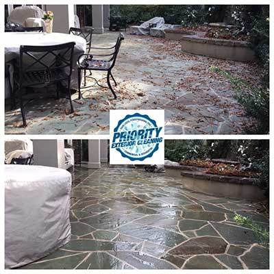 Image: Before and After Outdoor Flooring Slate Patio Washing by Priority Exterior Cleaning, LLC.