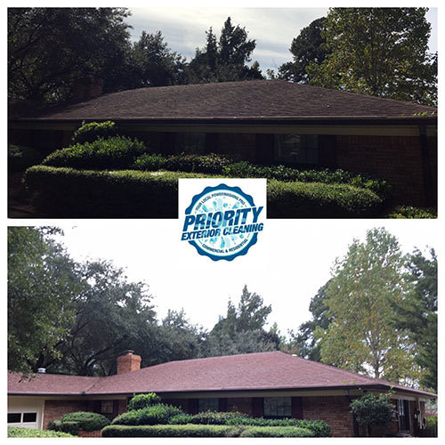 Image: Priority Exterior Cleaning, LLC. Roof Soft Wash Cleaning Example